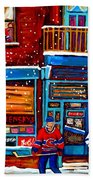 Montreal Wilensky Deli By Carole Spandau Montreal Streetscene And Hockey Artist Bath Towel