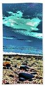 Moon Lit Beach, Bray, Wicklow, Ireland, Poster Effect1b Bath Towel