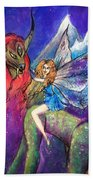 Moonlight Fairy And Her Horned Horse Bath Towel