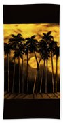 Moonlit Palm Trees In Yellow Bath Towel