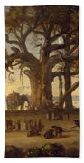 Moonlit Scene Of Indian Figures And Elephants Among Banyan Trees Bath Towel
