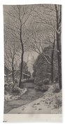 Moonlit Stroll In Winter Bath Towel