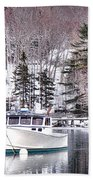 Moored Boats In Maine Winter  Bath Towel