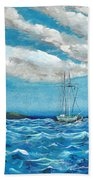 Moored In The Bay Hand Towel