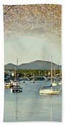 Moored Yachts In A Sheltered Bay Bath Towel
