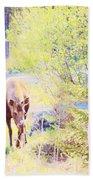 Moose In The Yard Bath Towel