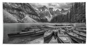 Moraine Lake In Black And White Hand Towel