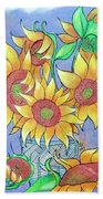 More Sunflowers Bath Towel by Loretta Nash