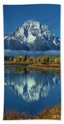 Morning Cloud Layer Oxbow Bend In Fall Grand Tetons National Park Bath Towel by Dave Welling