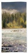 Morning Fog At Athabasca River Bath Towel