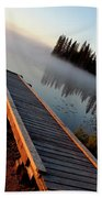 Morning Mist Over Lynx Lake In Northern Saskatchewan Bath Towel