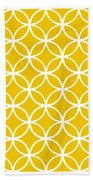 Moroccan Endless Circles I With Border In Mustard Bath Towel