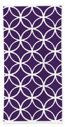 Moroccan Endless Circles I With Border In Purple Bath Towel