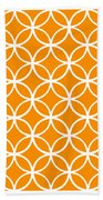 Moroccan Endless Circles I With Border In Tangerine Bath Towel