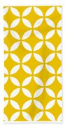 Moroccan Endless Circles II With Border In Mustard Bath Towel