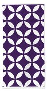 Moroccan Endless Circles II With Border In Purple Bath Towel