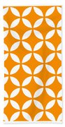 Moroccan Endless Circles II With Border In Tangerine Bath Towel