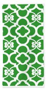Moroccan Floral Inspired With Border In Dublin Green Bath Towel