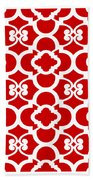 Moroccan Floral Inspired With Border In Red Bath Towel