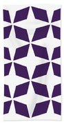 Moroccan Inlay With Border In Purple Bath Towel