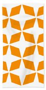 Moroccan Inlay With Border In Tangerine Bath Towel