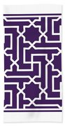 Moroccan Key With Border In Purple Bath Towel