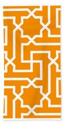 Moroccan Key With Border In Tangerine Bath Towel