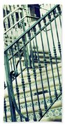 Mosaic And Iron Staircase La Quinta California Art District In Mint Tones Photograph By Colleen Bath Towel