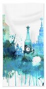 Moscow, Russia, Watercolor In Blue Bath Towel