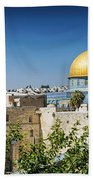 Mosques In Old Town Of Jerusalem Israel Bath Towel