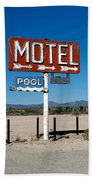 Motel Sign On I-40 And Old Route 66 Bath Towel