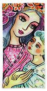 Mother And Child In Blue Bath Towel