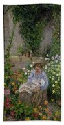 Mother And Child In The Flowers Bath Towel