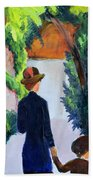 Mother And Child In The Park Bath Towel