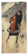 Mother And Child On A Street Crossing Bath Towel