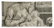 Mother And Child With Skull And Hourglass Bath Towel
