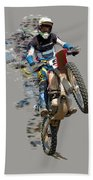 Motocross Rider With Flying Pieces Bath Towel