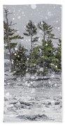 Mount Desert Narrows Snowscape Bath Towel