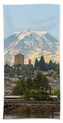 Mount Rainier At Tacoma Waterfront Bath Towel