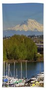 Mount Rainier From Thea Foss Waterway In Tacoma Bath Towel