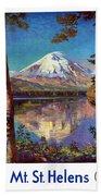 Mount Saint Helens Vintage Travel Poster Restored Bath Towel