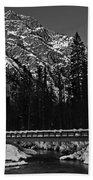 Mountain And Bridge Black And White Bath Towel