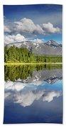 Mountain Lake With Reflection Bath Towel
