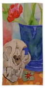 Mountain Lion Skull Tea And Tulips Bath Towel