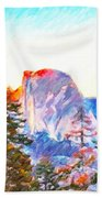 Mountain Range In Yosemite National Park Bath Towel