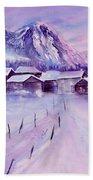Mountain Village In Snow Bath Towel