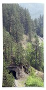 Mountains With Railroad And Tunnels  Bath Towel