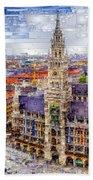 Munich Cityscape Bath Towel by Rafael Salazar