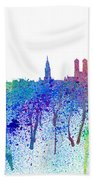 Munich Skyline Silhouette An Impressionistic Splash - Dream Cities Series Bath Towel