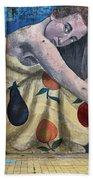Mural Of A Woman In A Fruit Dress Bath Towel
